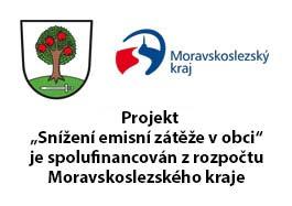 """Projekt """"Snížení emisní zátěže v obci"""" je spolufinancován zrozpočtu Moravskoslezského kraje"""