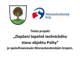 """Projekt """"Zlepšení tepelně technického stavu objektu Pošty"""" je spolufinancován zrozpočtu Moravskoslezského kraje"""